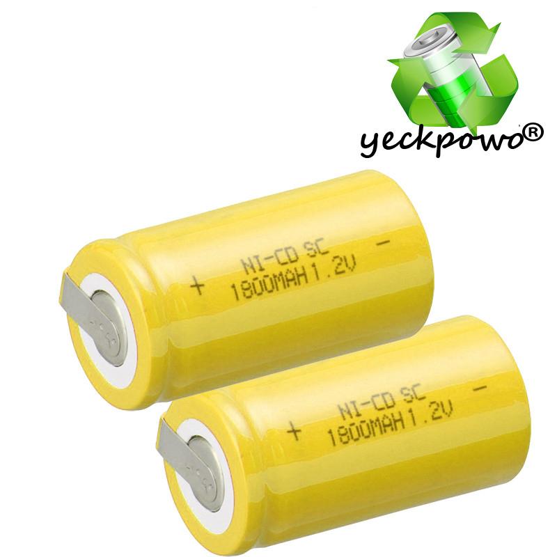 Prix pour Vrai capacité! 35 pcs SC batterie subc batterie rechargeable 1.2 v accumulateur 1800 mah SC puissance banque nicd batterie de remplacement