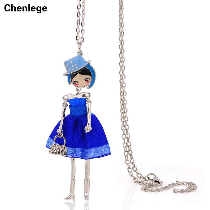 Милое ожерелье с удлиненной цепью для девочек, ювелирные изделия, бесплатная доставка, кукольные подвески, ожерелья, 1 шт., большой чокер, ожерелье ручной работы с сетчатым платьем