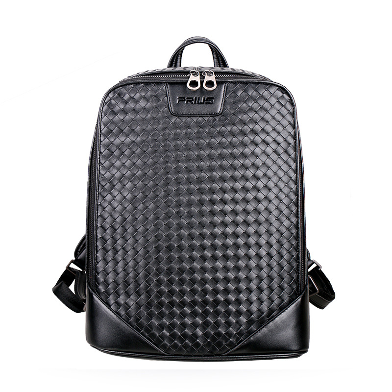 2018 Brand 100% Genuine Leather Men Backpacks Fashion Real Natural Leather Student Backpack Boy Luxury Weave Computer Laptop Bag