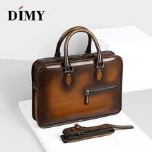 DIMY el yapımı Laptop çantaları erkek evrak çantası hakiki inek deri iş çantası tote moda stil fermuar omuzdan askili çanta erkekler için