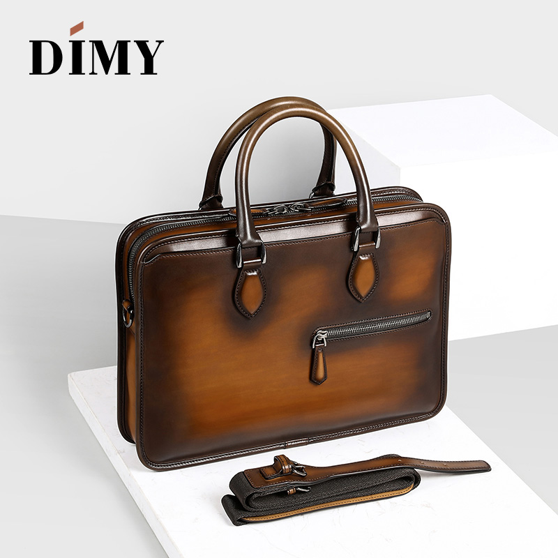 DIMY Handmade Laptop Bags Man's Briefcases Genuine Cow Leather Business Case Totes Fashion Style Zipper Shoulder Bag For Men image