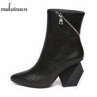 Black Side Zipper Women Ankle Boots Genuine Leather Strange Heel Bota Feminina Pointed Toe Botas Mujer