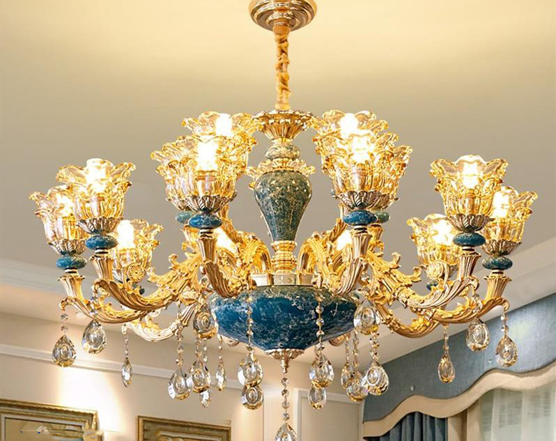 French Luxury Blue Handmade Ceramic Chandelier Living Room Dining Room Bedroom European Creative Crystal Chandelier