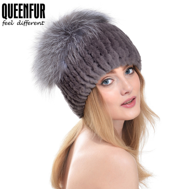 QUEENFUR Real Imported Rex Rabbit Fur Hat With Silver Fox Fur Big Pom Poms Cap 2016 New Style Women Knitted Fur Beanies