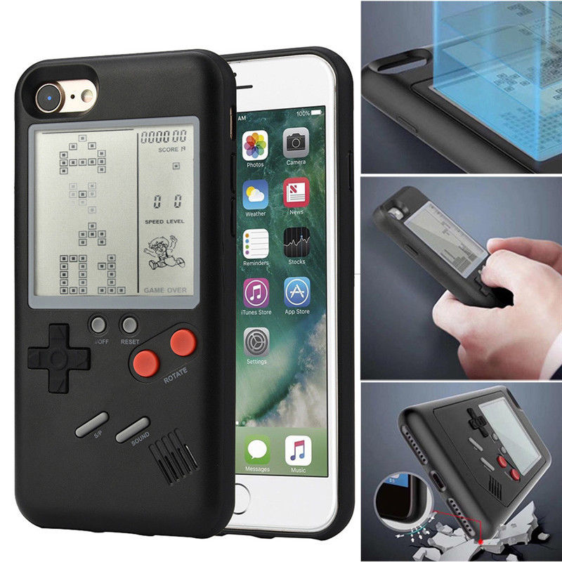 Ninetendo Retro Gameboy Tetris Phone Case for iPhone X 7 8 7/8plus + 6 6plus + Play Game Console Cover Protect GAMES INSTALLED