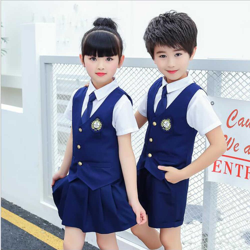 82cd08aedb Children Cute Cotton Korean Japanese Student School Uniforms Girls Boys Kid  Collar Shirt Top Pleated Skirt