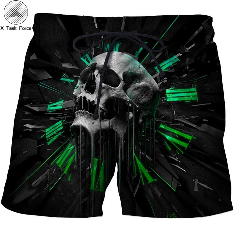 Skull Printed Beach   Shorts   Men 3d Funny   Short   Plage Summer Pants Quick Dry Pant   Board     Shorts   Swimwear DropShip X Task Force