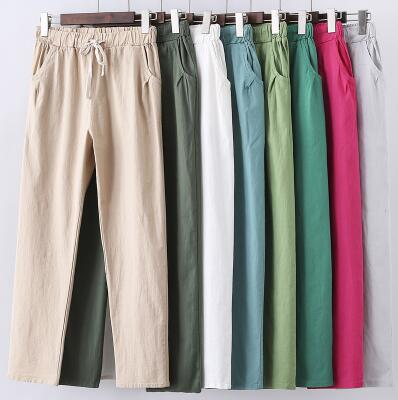 M- 6XL 7XL Plus Size Women Pants Linen Cotton Casual Big Size Pants Candy Color Trousers Female Ankle-length Length Pants