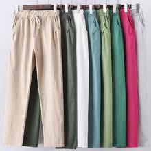 M- 6XL 7XL Plus Size Women Pants Linen Cotton Casual big size Pants Candy Color Trousers Female Ankle-length Length Pants