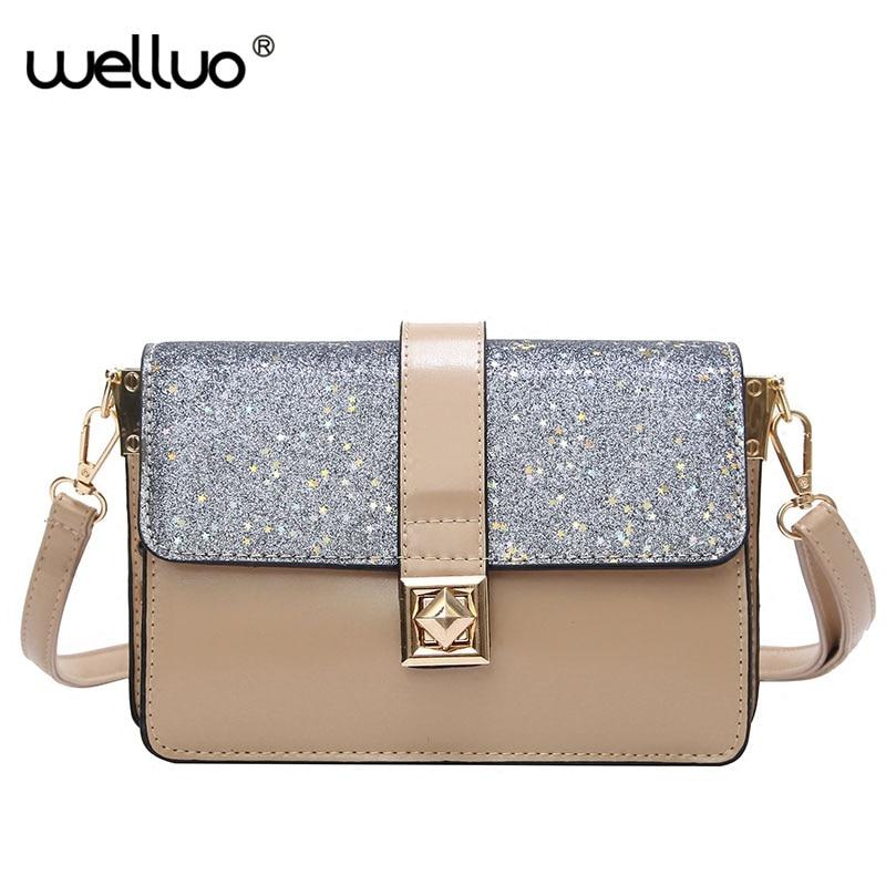 Women Sequins Bling Messenger Bags Brands Design Female Shoulder Bag Casual Flap Mini PU Leather Crossbody Bag Handbags XA224WB цена