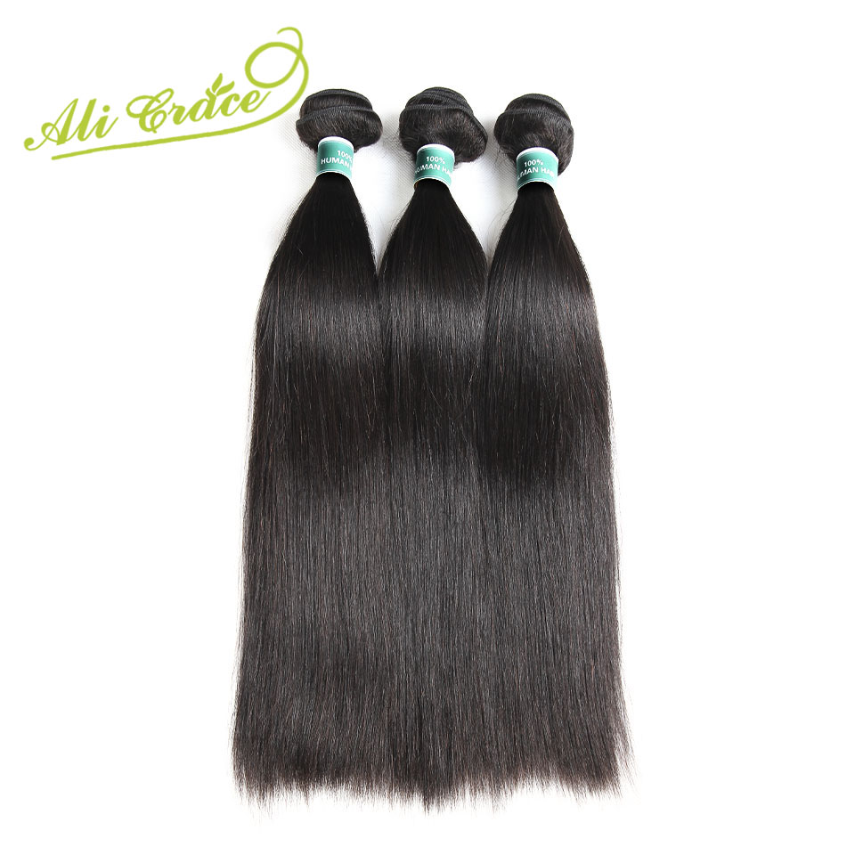 ALI GRACE Hair Malaysian Straight Human Hair 3 Bundles Deal Remy Hair Extensions Natural Color 10