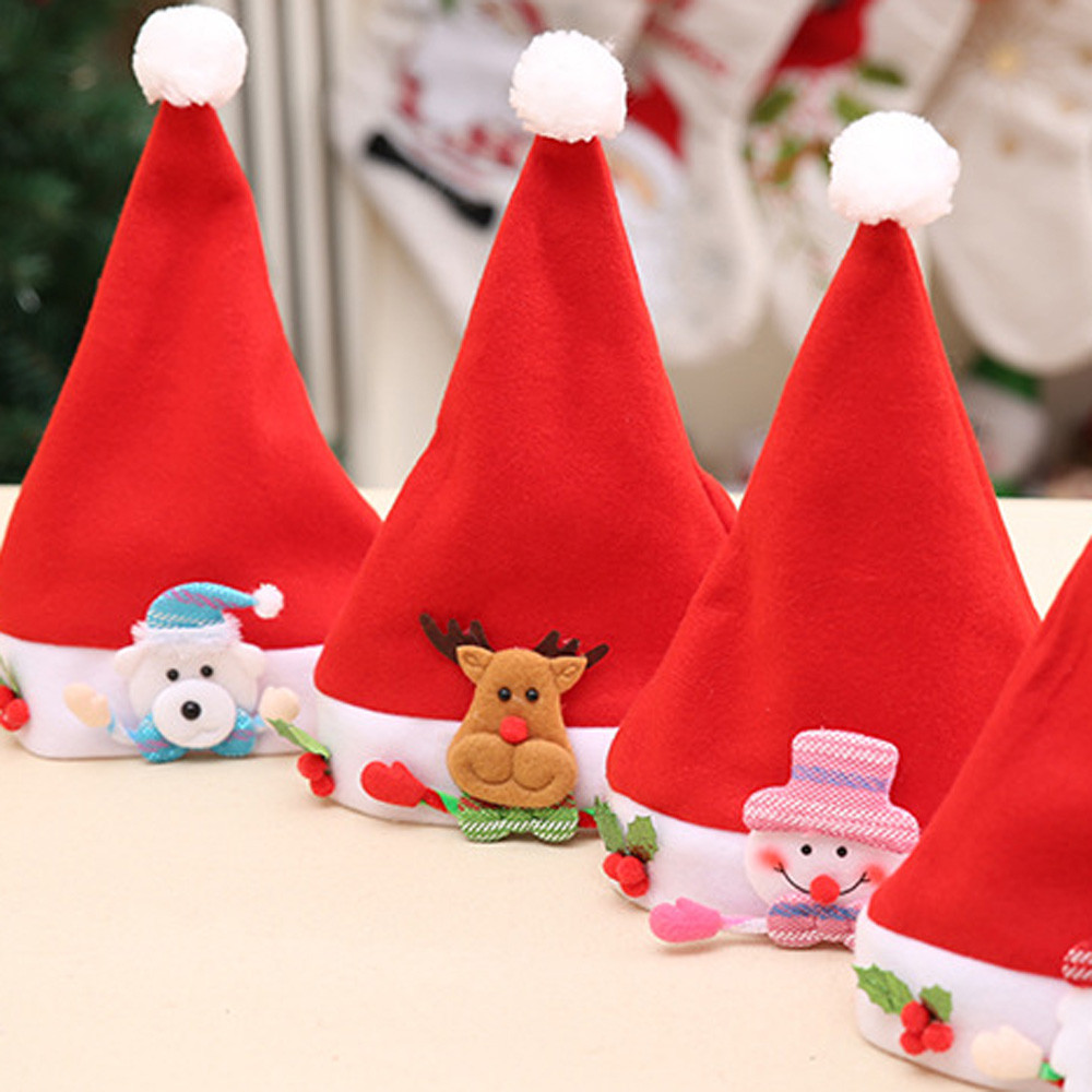 1PC Cute Red Santa Claus Christmas Elk Red Hat Cozy Soft Warm Children Santa Headgear For Merry Christmas Xmas Home Party
