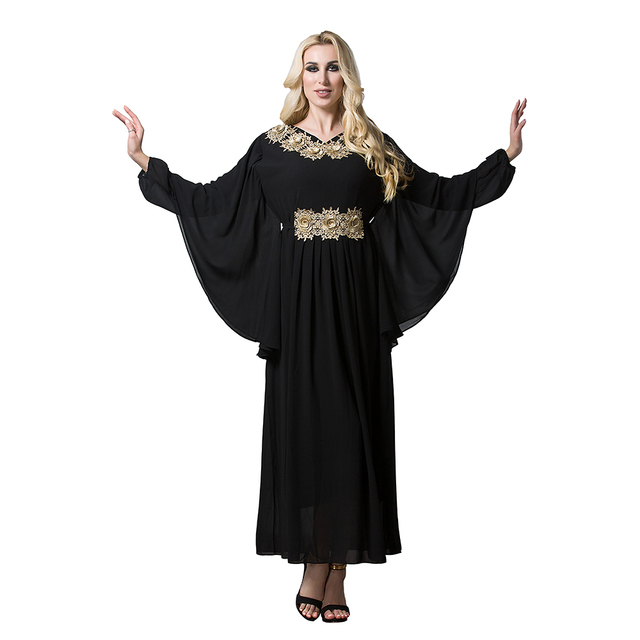 d9996a7f7e Women Chiffon Gold Flowers Long Batwing Sleeve Turkish Islamic Muslim Abaya  Maxi Dress Arabic Middle East Robes Plus Size XL-7XL