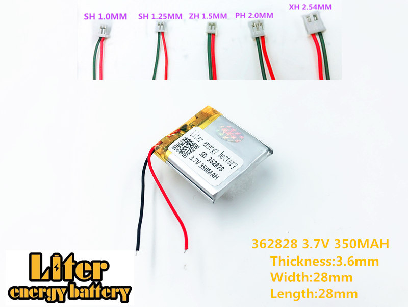 362828 3.7v 350mAh li-ion rechargeable lithium polymer battery 362828 plug li-polymer rechargeable battery supply polymer battery 602020