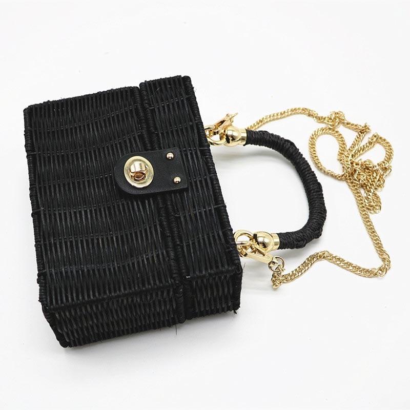 New Rattan Black Straw Shoulder Bag Women Hand-Woven Messenger Bag Summer Beach Square Chain Box Straw Handbag Drop Shipping 2