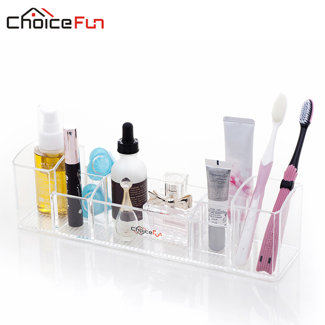 CHOICEFUN Multi Functional Clear Acrylic Countertop Toilet TrayToothbrush  And Cosmetic Storage Bathroom Organizer For Makeup