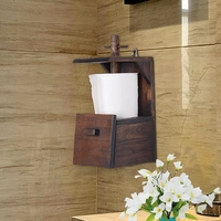 Thailand imported solid wood retro bathroom creative roll holder paper towel rack shelf kitchen wooden roll holder LO5311015