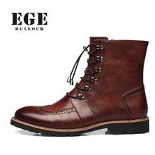 Los Hombres de la marca Caliente de La Manera de Bueyes Zapatos Hechos A Mano de Cuero Genuino Caliente Botas de Invierno Hombres Casuales de Estilo Británico Botas de Nieve Del Tobillo