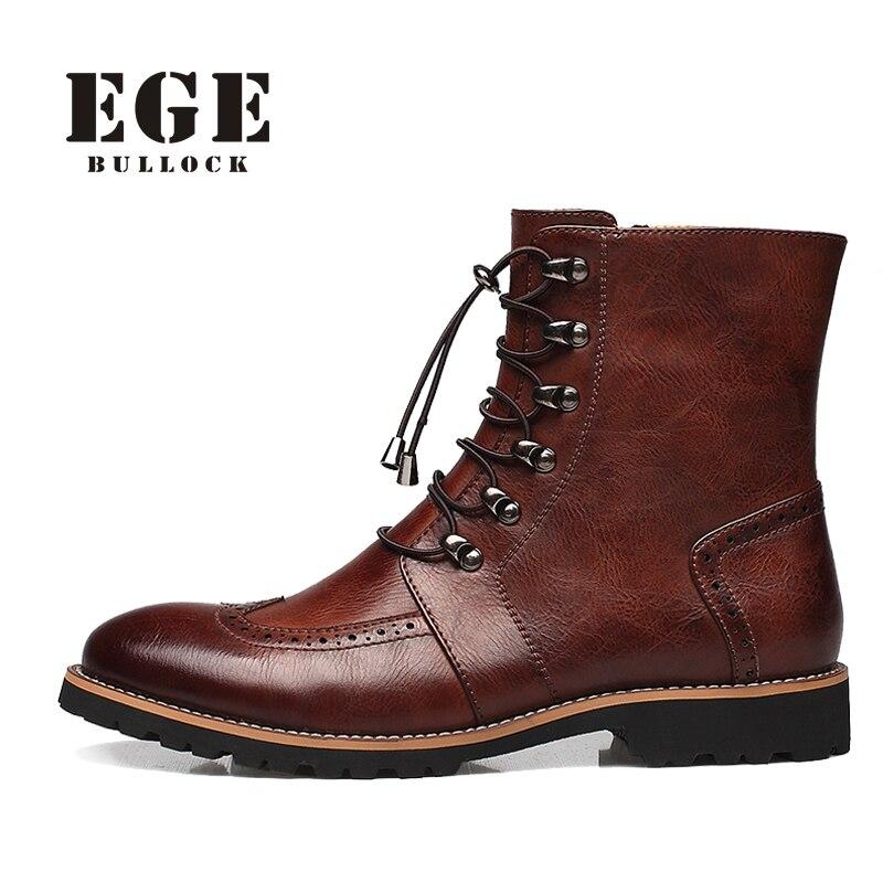 Marca hombres Botas moda caliente Bullock Zapatos hecho a mano caliente Cuero auténtico invierno Botas hombres casual estilo británico tobillo Botas de nieve