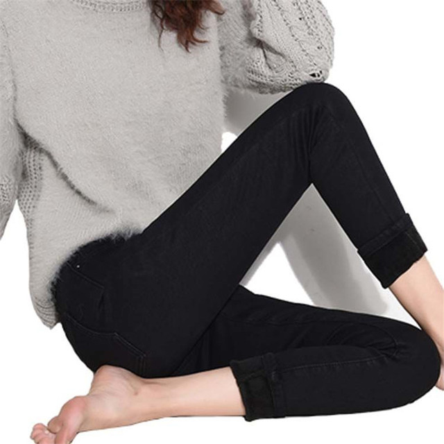 High Waist Warm Jeans For Women Blue Female Black Winter Jeans Women Denim Pants Jean Femme 2018 Ladies Trousers Warm Pants 10