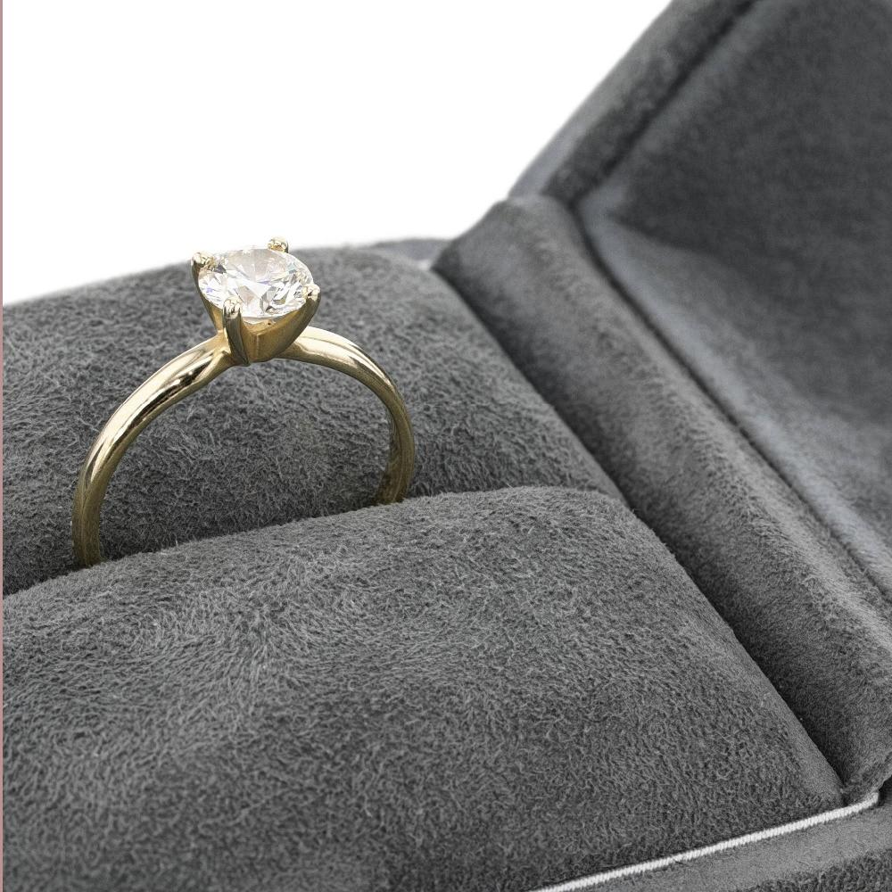 Round Brilliant Cut 0.5ct Moissanite Ring 14K Solid White Gold Solarite Lab Diamond Engagement Promising Ring For Lovely