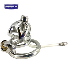 FRRK Stainless Steel Cock 40/45/50mm Lockable Penis Lock  Cage male Metal Ring Chastity Device Tool Sex Toys for Men все цены