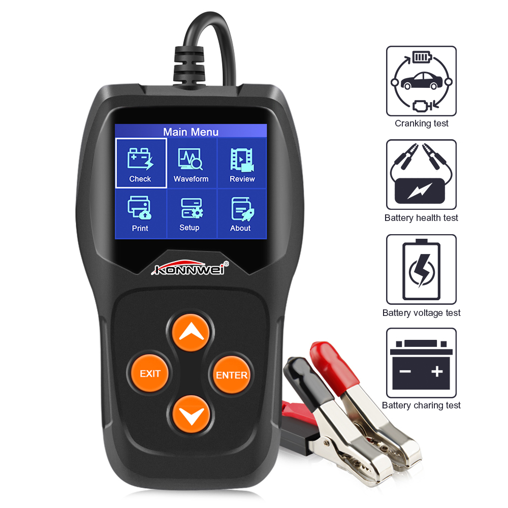Image 2 - KONNWEI KW600 Car Battery Tester 12V Digital Color Screen Auto Battery Analyzer 100 to 2000CCA Cranking Charging Car Diagnostic-in Battery Measurement Units from Automobiles & Motorcycles