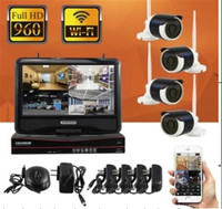 10 Inch LCD Display WIFI 960p Wireless 4CH IP Camera NVR Kit