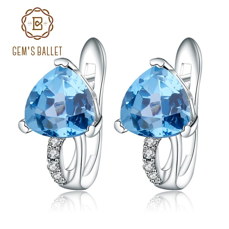 Gem s Ballet 925 Sterling Silver Earrings 3 05Ct Triangl Natural Swiss Blue Topaz Gemstone Stud