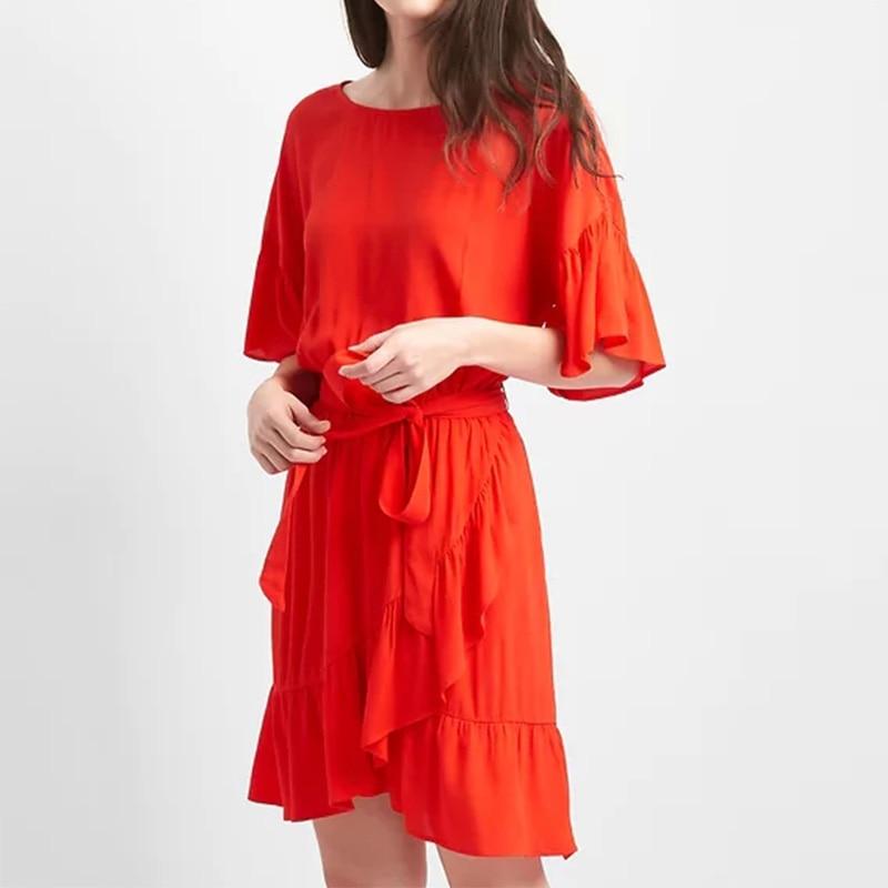 Vintage Summer Dresses Women Loose Solid  Irregular Ruffles A-Line Mini Dress Casual O-Neck Short Sleeve Elegant Bodycon Dress