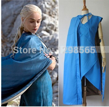 A Song of Ice and Fire A Game of Thrones Daenerys Targaryen Mother of Dragons Blue Dress Cosplay Costume Women Halloween Costume