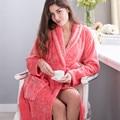 Albornoces Ropa de Dormir de Franela Robe Mujeres Parejas Alargado Gruesos Calientes Albornoz Bata Sexy Otoño E Invierno Pijama Largo Chino