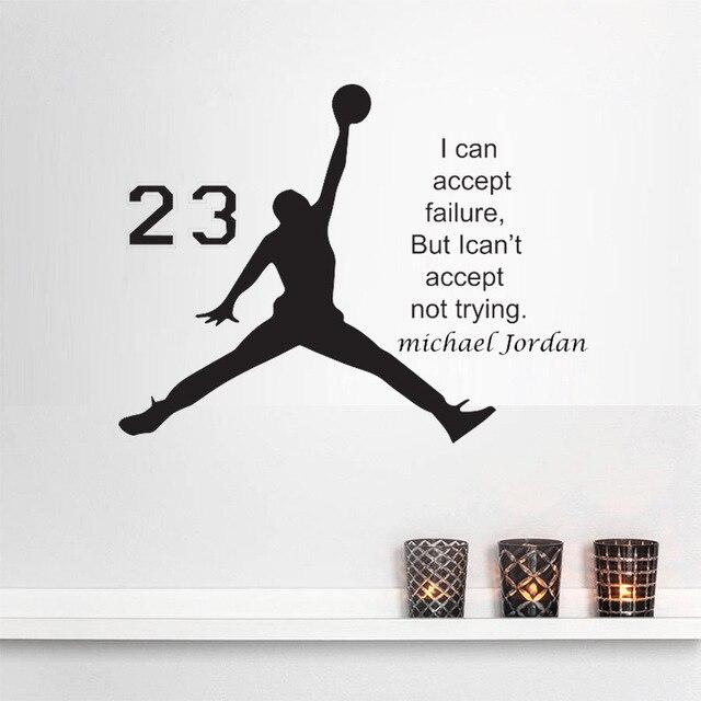 Michael Jordan Basketball Inspirational Vinyl Wall Stickers Quote For Kids Room Decor Boys Diy Art Mural