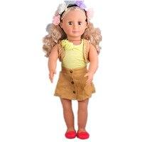 American Girl Puppe Kleidung Beste Chrismas Geschenk 1 blüte bands, 1 tippet, 1 tank top, 1 röcke, 1 schuhe