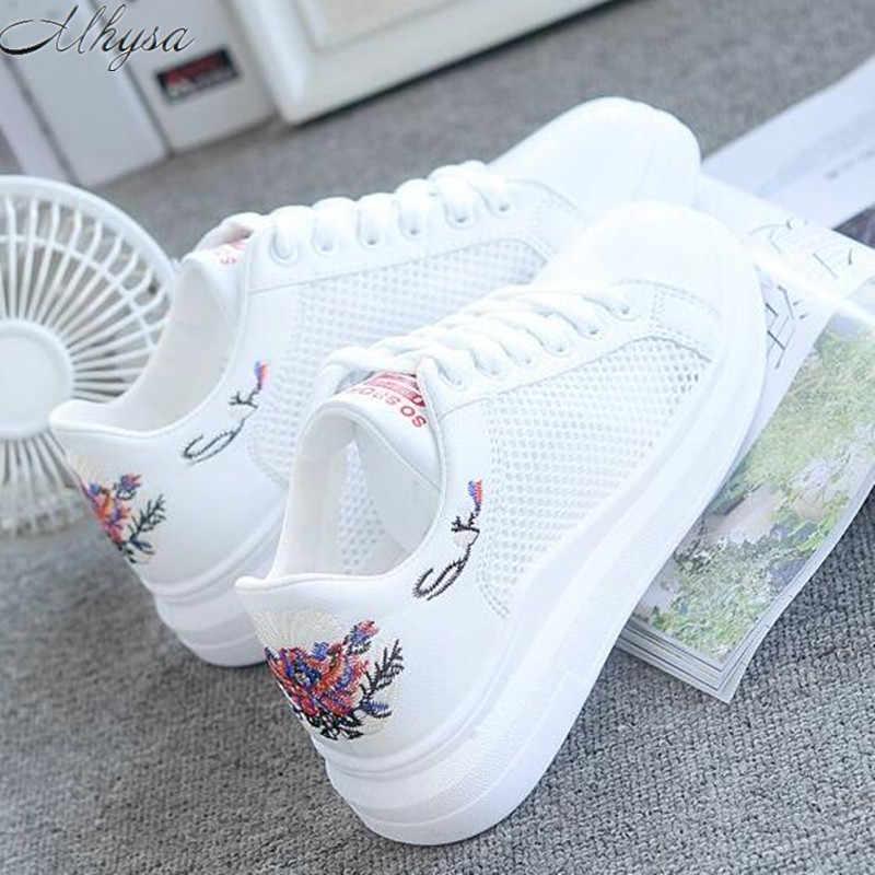2019 zapatillas de mujer de moda de malla transpirable zapatos vulcanizados de mujer de plataforma de encaje zapatos casuales de mujer de blanco Tenis Femenino