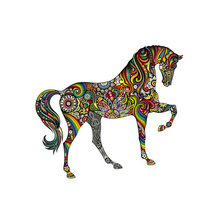 Flower Horse Sticker On Clothes Heat Transfer Washable Clothing Deco New Design Diy Accessory Badges Applique