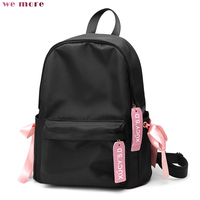 We More Women Oxford Solid Backpack Fashion Convenient Letter Pull Card Women Backpack Interior Zipper Pocket