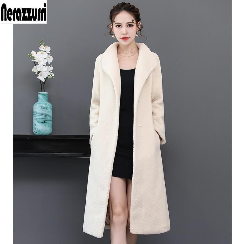 Nerazzurri de mujer abrigo largo de blanco gota hombro plus Tamaño del oso  de peluche chaqueta 5xl 6xl 7xl suave cálida chaqueta de de piel de abrigo 2e03191de3b3