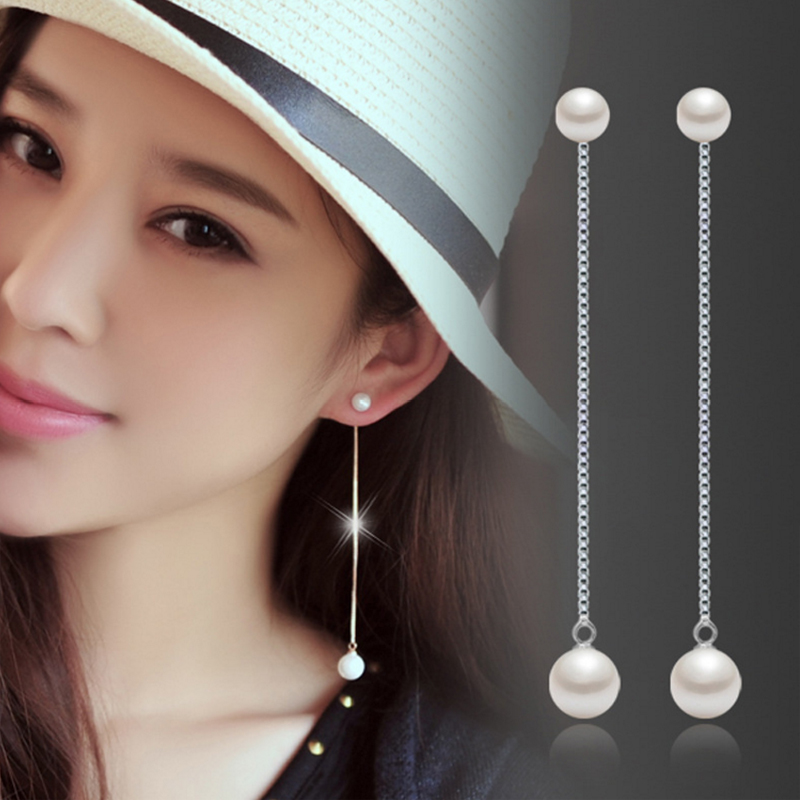 Earring post long chain 925 sterling silver white artificial ...