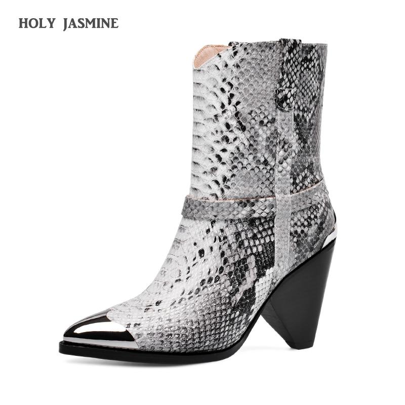 2019 nouvelle marque femmes bottes hiver bottines Style étrange talon haut Western bottes bout pointu chaussures dames automne taille 34-43
