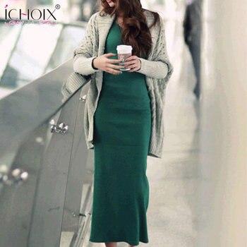 большие размеры 2019 осень зима длинное вязаное платье повседневное