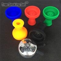 1pc Silicon Shisha No Odor Hookah Bowl 1pc Metal Head For Shisha Accessories For Shisha Mouthpiece for hookah Smoking Pipes
