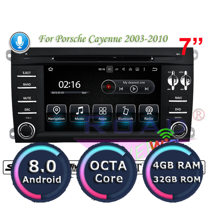 RoadLover Android 8.0 Car DVD Player Radio For Porsche Cayenne 2003 2010 Stereo GPS Navigation Automagnitol 2 Din Octa Core MP3