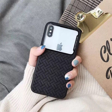 Applicable to iPhoneXSMax mobile phone case Apple 6S/7/8plus new woven pattern glass thin silicone iPhone XR