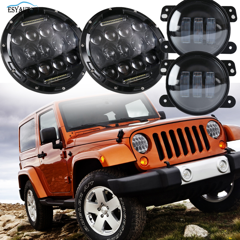 1 пара 7 дюймов круглый светодиодный фары фары 75ВТ + 4 дюйма светодиодные Противотуманные фары сборки внедорожного запчасти для Jeep Вранглер JK, TJ в ЖЖ