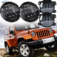 1 Pair 7 Inch Round LED Headlights 75W Headlamp 4 Inch LED Fog Lights Assembly Off