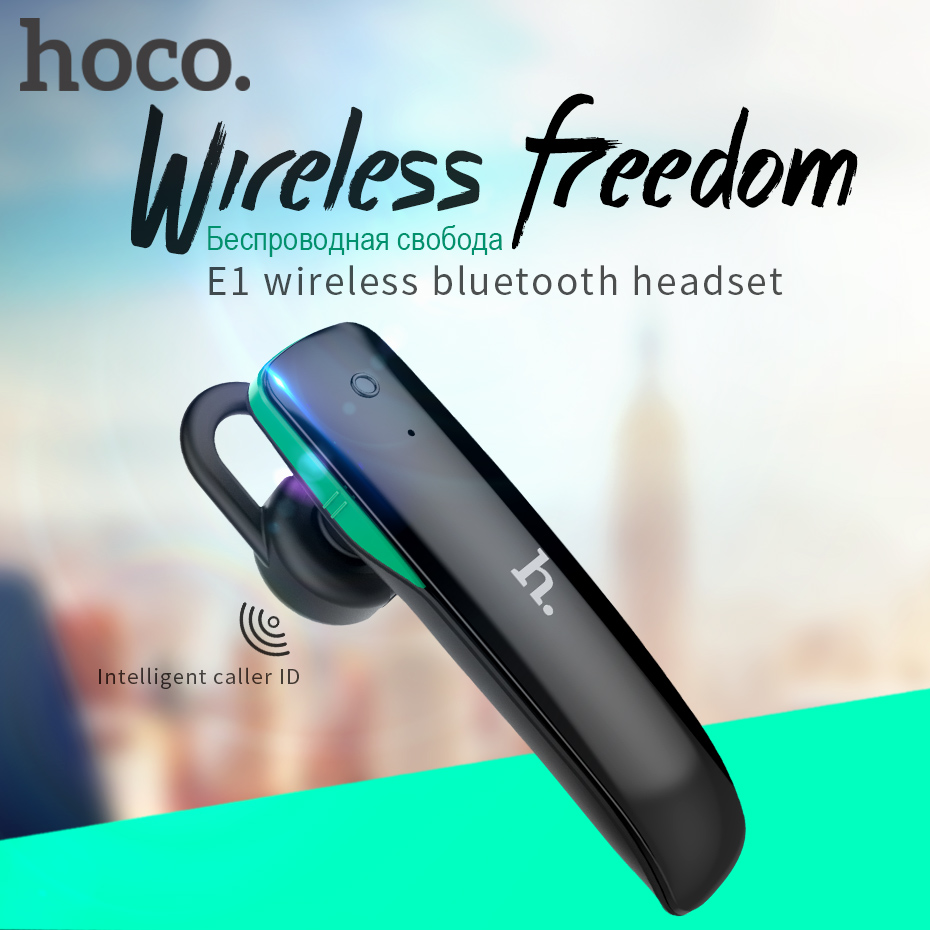 HOCO Best business Hands-free Wireless Bluetooth Earphone noise cancelling headphones with Mic in Car for iPhone for Samsung airersi k6 business bluetooth headset smart car call wireless earphone with microphone hands free and headphones storage box