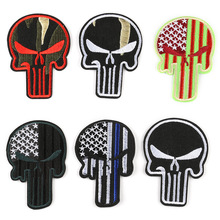 100pcs Skull Patches Clothing Military Embroidered Skeleton Patch Iron on Appliques Tactical DIY Stickers for Clothes