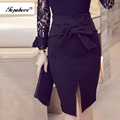 Women Pencil Skirt Plus Size Spring Autumn New Fashion Knee Length High Waist Casual Bodycon Skirt Elegant Open Slit Bow Skirt