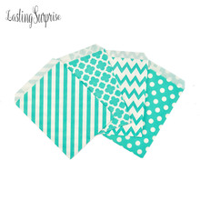 Mint Blue 25pcs Wavy Lines Stripes Paper Bags Popcorn Bags Party Food Gift Package Bag Wedding Birthday Party Supplies 5*7Inch